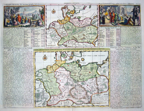Chatelain  Carte de l´ancienne Germanie divisee en quatre differentes Nations et les peules de chacune