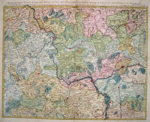 Walch Johann Neue general Kriegs Karte des Rheinstrohms, herraus gegeben von Iohann Walch …….
