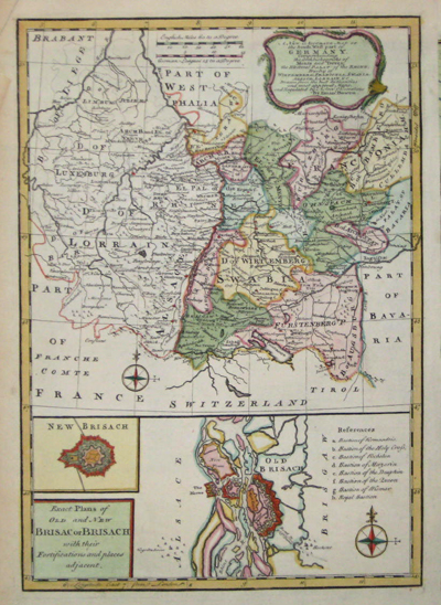 Bowen Emanuel A new and accurate map of the south west part of Germany