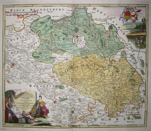 Homann Johann Babtiste Totius Marchionatus Lusatiae tam superioris quam inferioris tabula specialis in suos Comitatus et Dominatus Distincta….