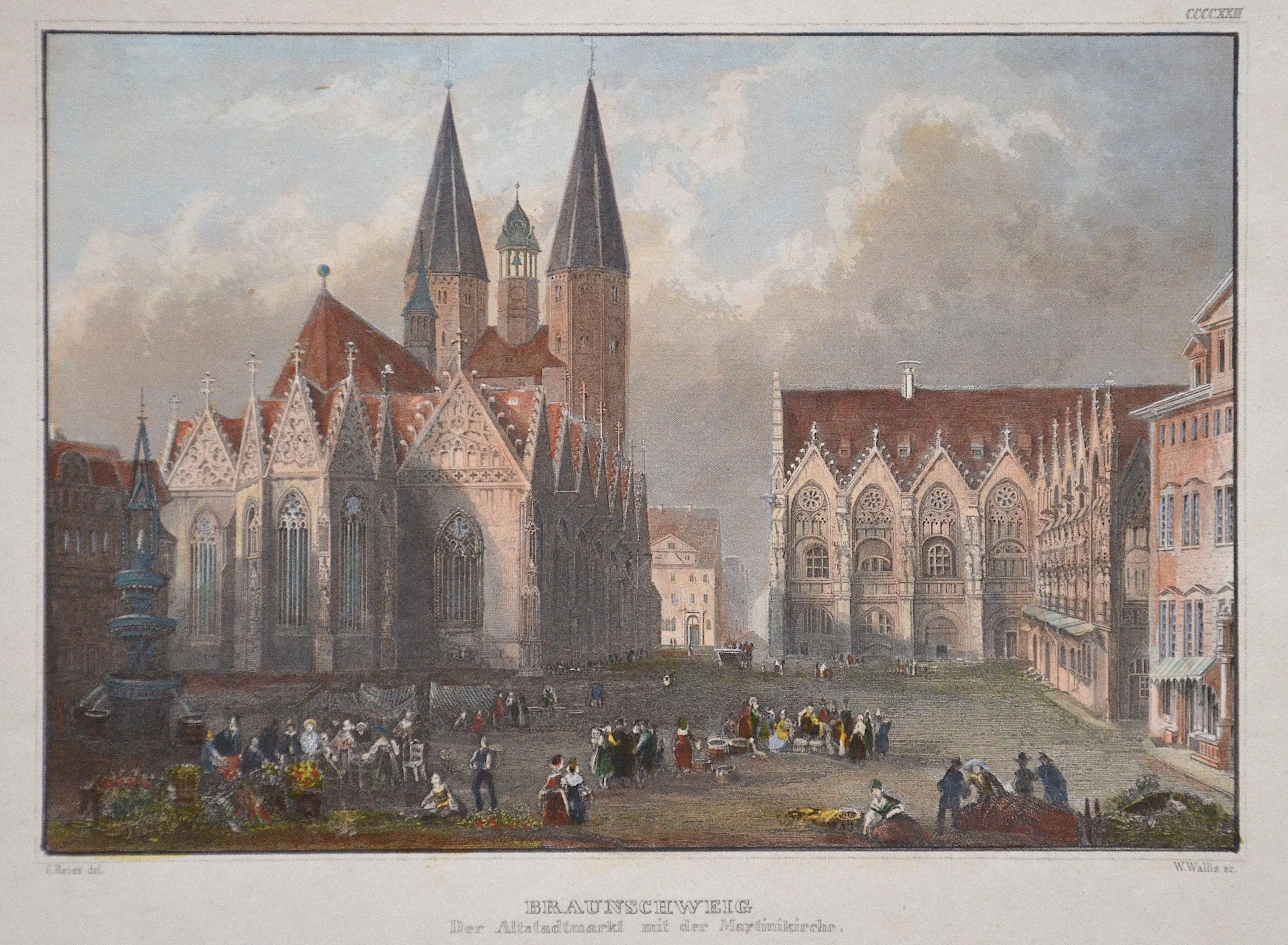 Kunstanstalt Hildburghausen  Braunschweig der Altstadtmarkt mit der Martini Kirche