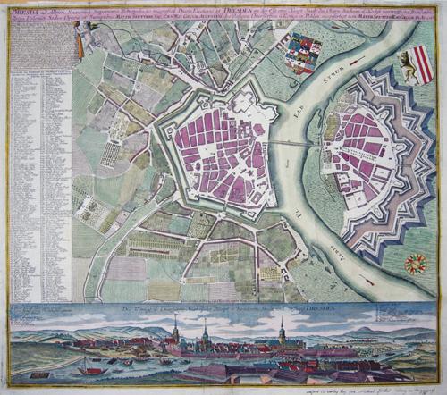Seutter  Dresden an der Elb, ein Haupt- Stadt des Obern Sachsen, u: Höchst vortreffliche Residentz des dasingen Churfürsten u Königs in Pohlen