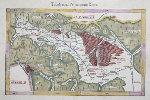 Ptolemy/ Fries Claudius/ Laurent ( Lorenz) Tabula Noua Prouinciarum Rheni