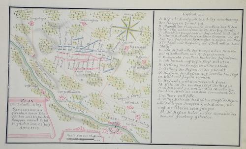 Anonymus  Plan der Bataille, so bey Sangershausen zwischen denen Fränzöschen, und Hessischen Trouppen onweit Cassel vorgefallen den 23 July anno 1758