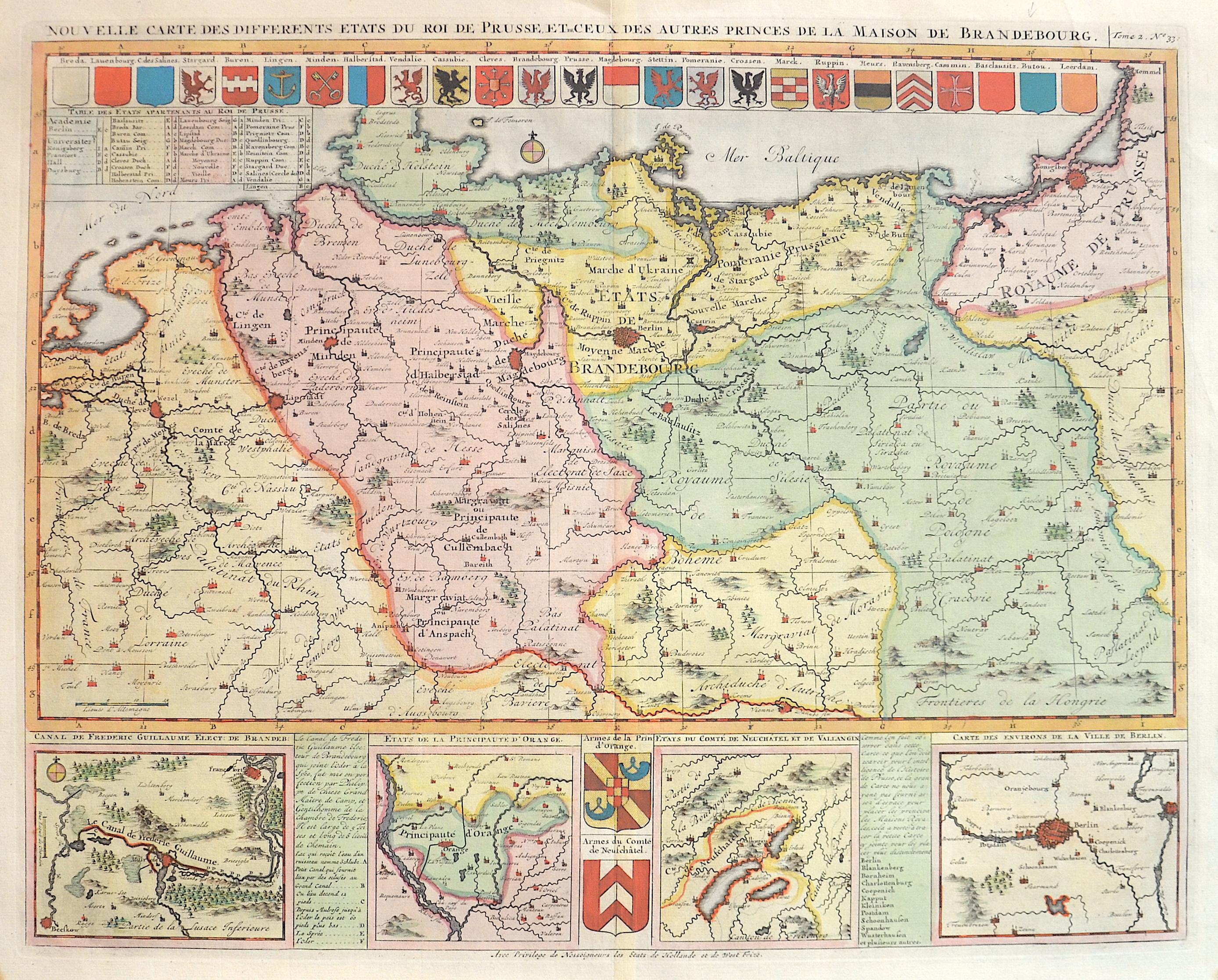 Chatelain Henri Abraham Nouvelle Carte des differents ètats du roi du Prusse et de ceux des autres princes de la maison de Brandebourg