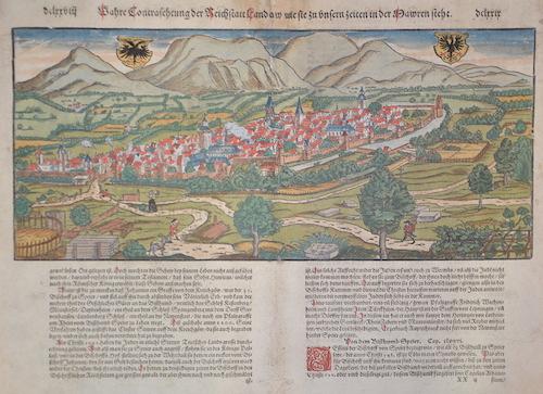 Münster  Wahre contrafehtung der Reichstatt Landaw wie sie zu unsern zeiten in der Mawren steht