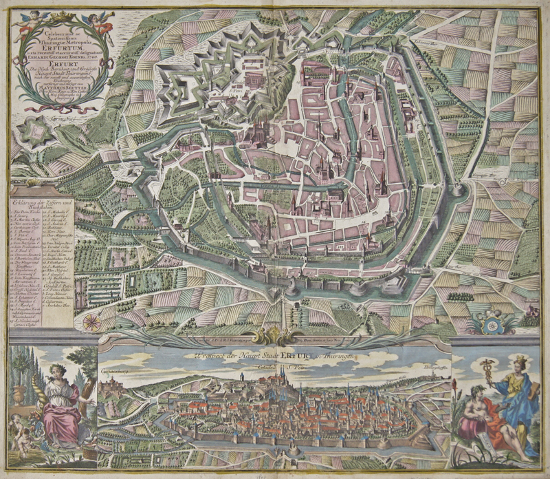 Seutter  Celeberrima ac Spatiosissima Thuringiae Metropolis Erfurtum../ Erfurt Die Hoch Berühmt und Grösseste Haupt Stadt Thüringens