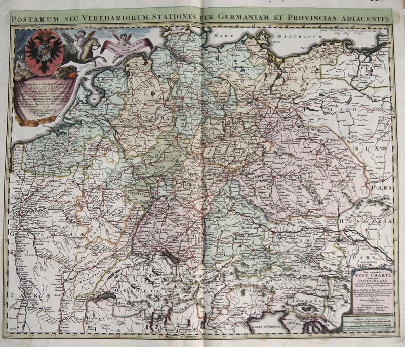 Homann  Postarum seu Veredariorum Stationes per Germaniam et Provincias Adiacentes