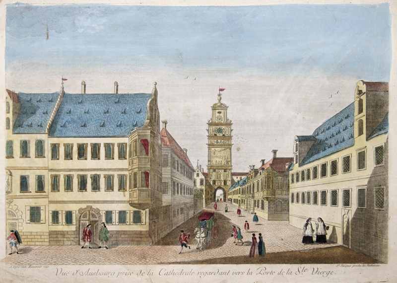Basset  Vue d'Ausbourg prise de la Cathedrale regardant vers la Porte de la Ste. Vierge.