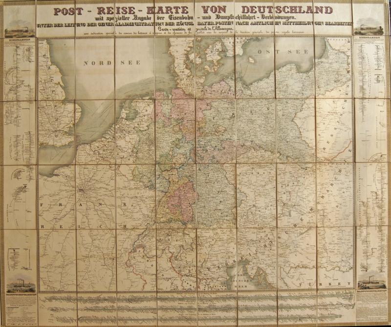 Minsinger  Postreise-Karte von Deutschland, mit den Eisenbahnen u. Dampfschiffahrten,..