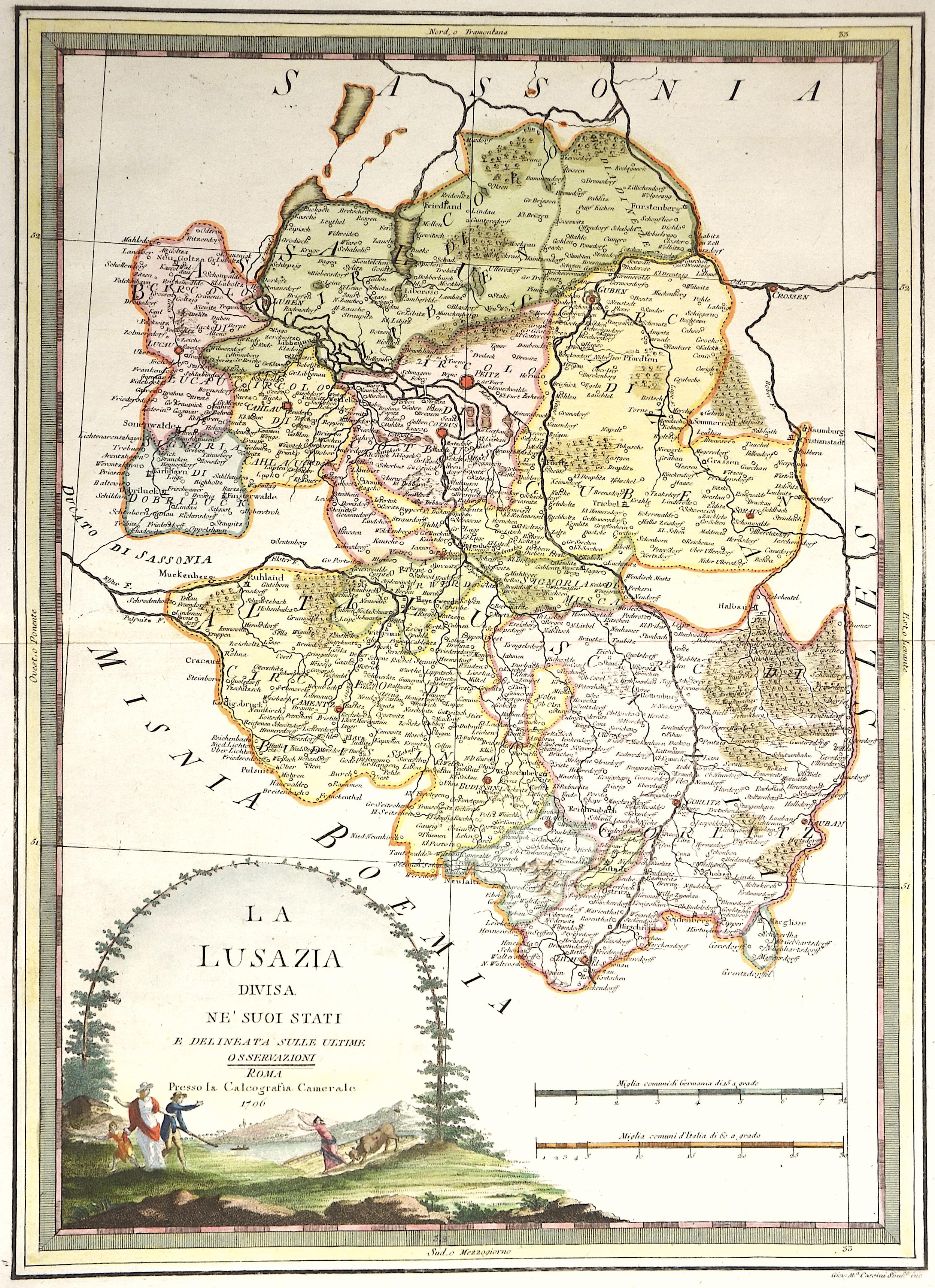 Cassini Giovanni Maria La Lusazia divisa ne' suoi stati e delineata sulle ultime osservazioni
