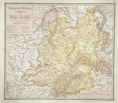 Glaser  Königreich Baiern. Charte des Regen Kreißes.