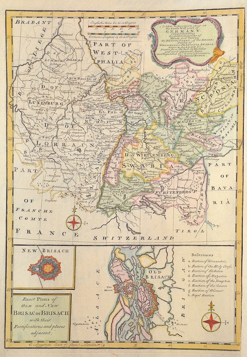 Bowen Emanuel A new & accurate Map of the South West part of Germany.