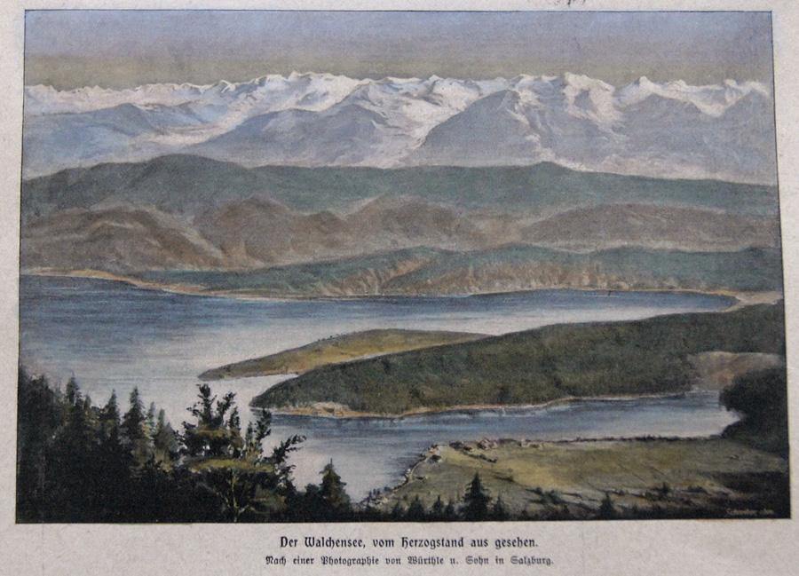 Würthle u. Sohn  Der Walchensee, vom Herzogstand aus gesehen.