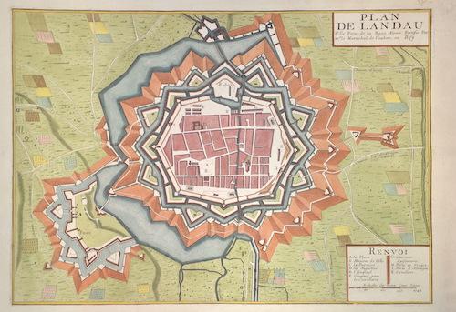 Bailleul  Plan de Landau Ville Forte de la Basse Alsace Fortisie Par mr le Mareschal de Vauban. au Roy