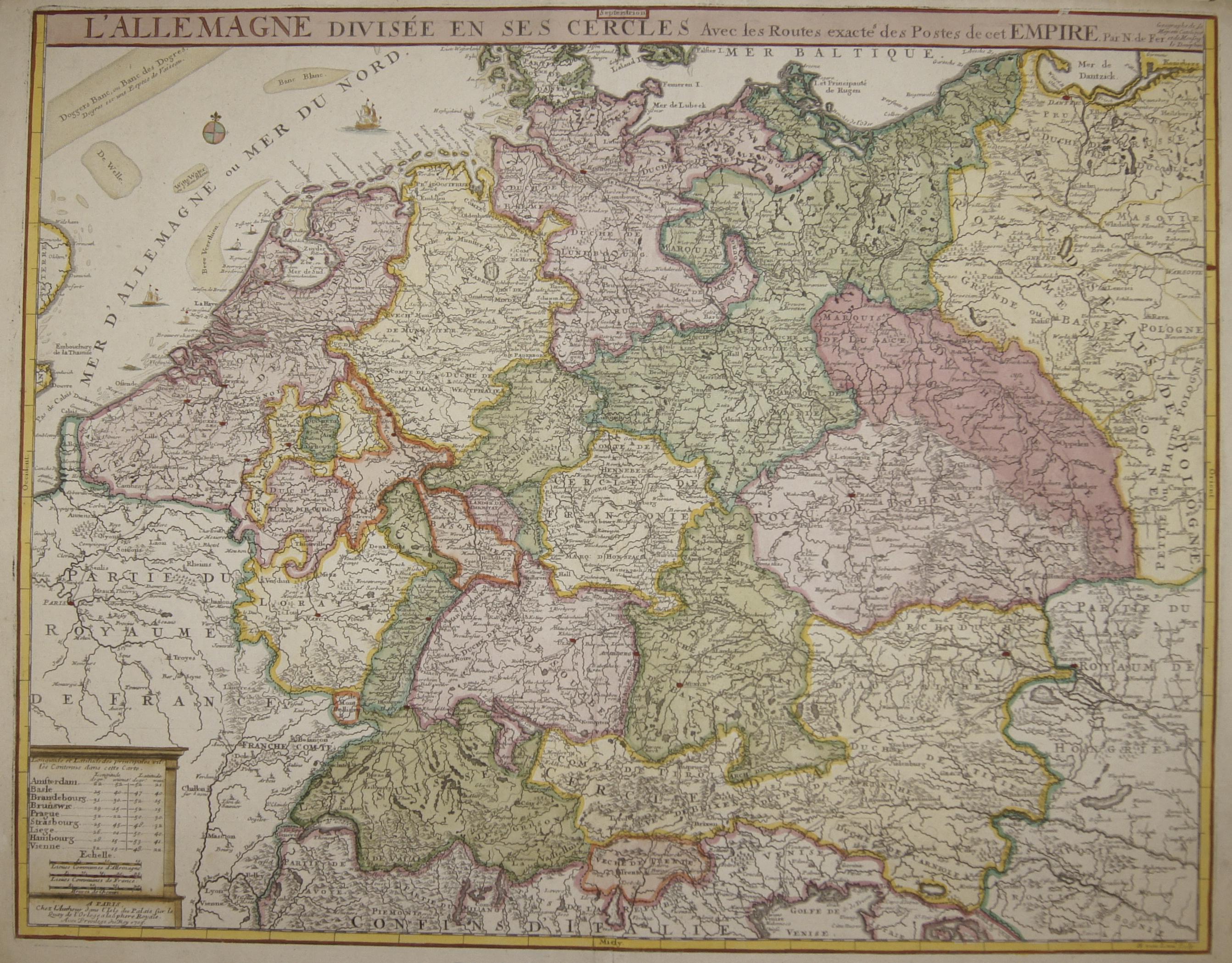 Fer, de Nicolas L'Allemagne divisèe en ses Cercles avec les Routes exactes des Postes de cet Empire.