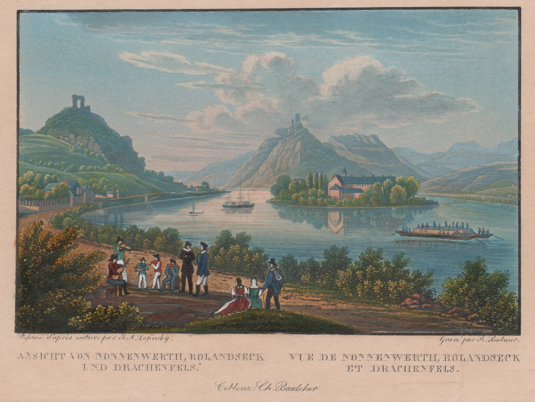 Bodmer  Ansicht von Nonnenwerth, Rolandseck und Drachenfels. / Vue de Nonnenwerth, Rolandseck et Drachenfels.