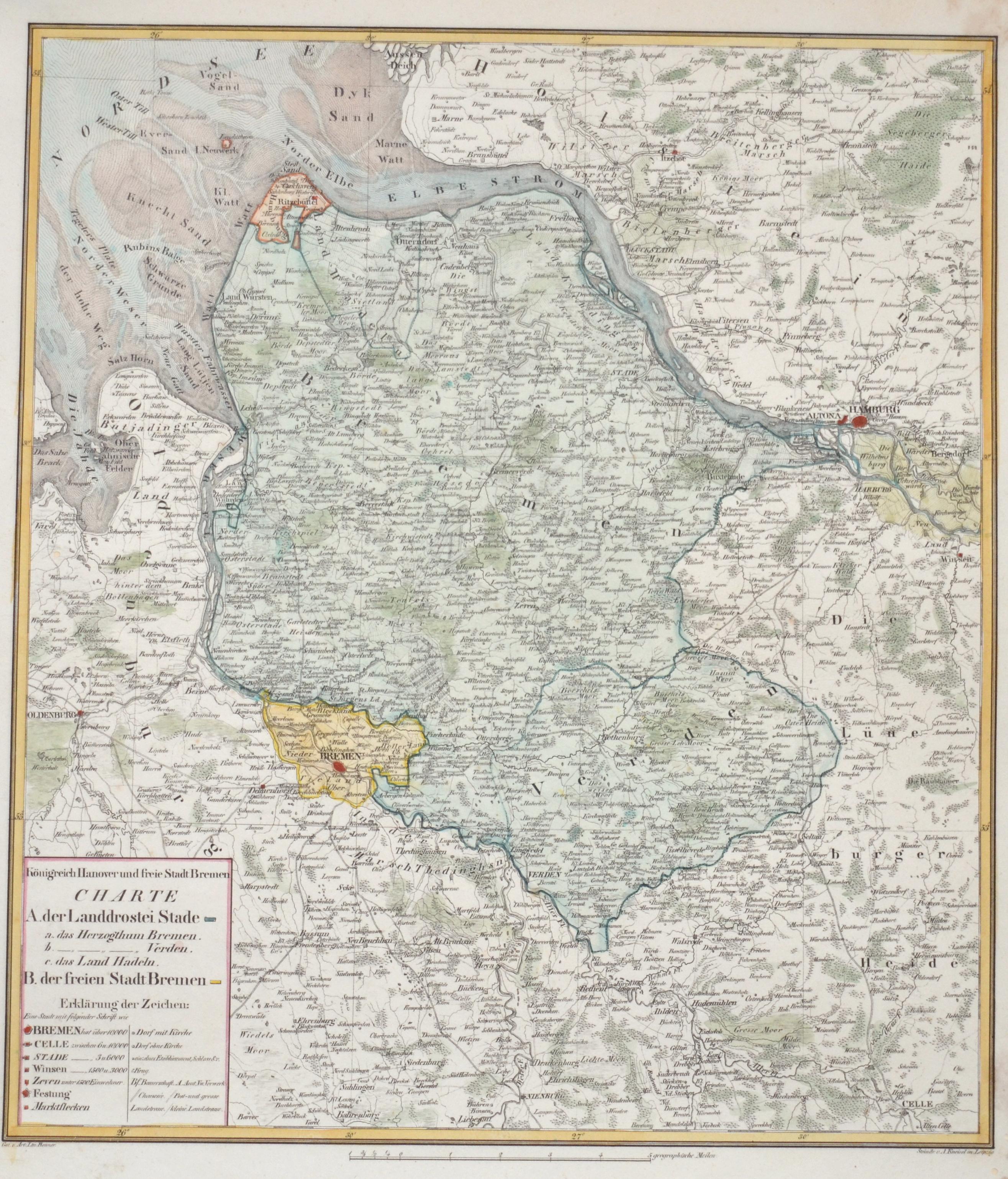 Kneisel  Königreich Hannover und freie Stadt Bremen Charte A. der Landdrostei Stade