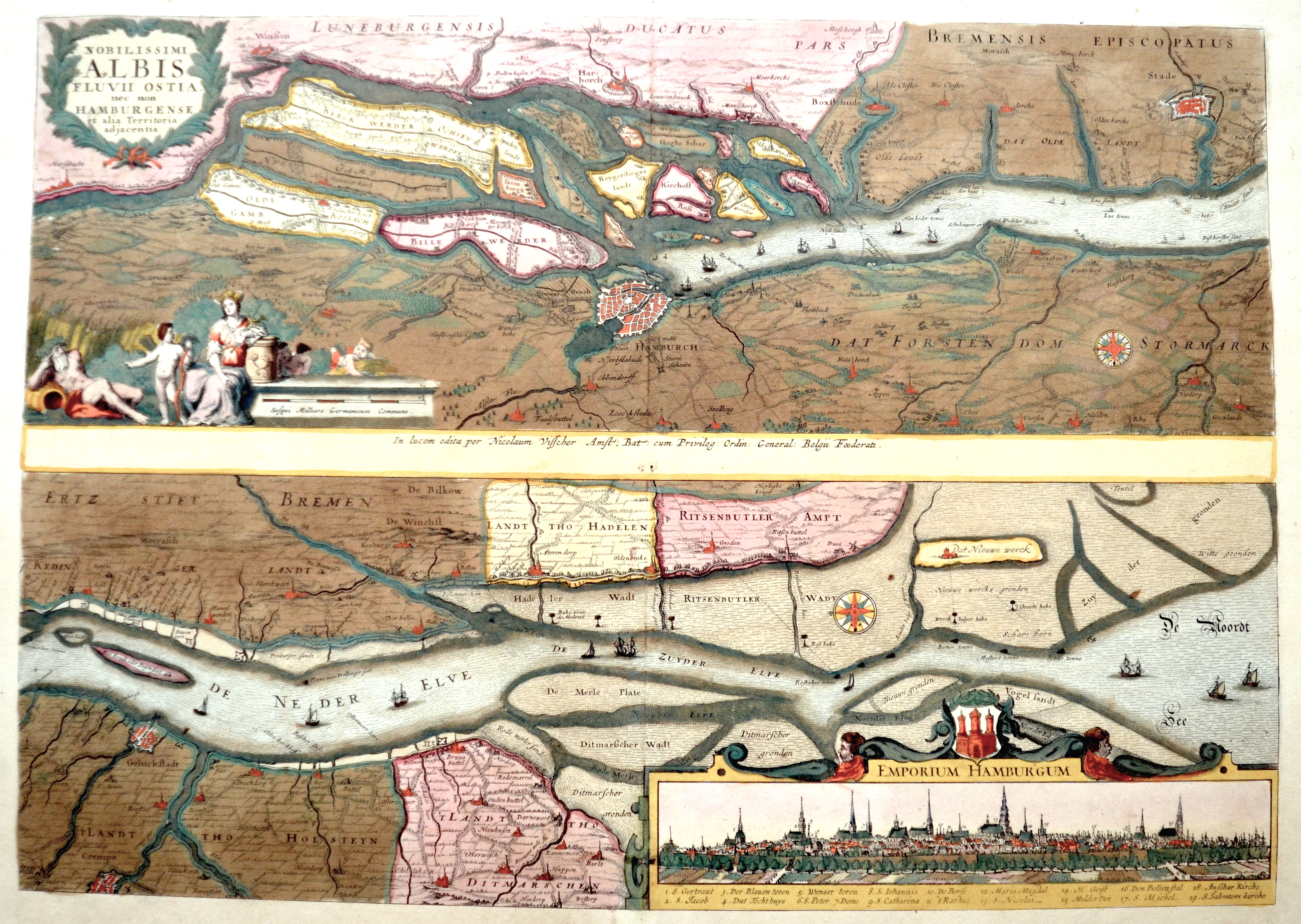 Visscher  Nobilissimi Albis Fluvii Ostia, nec non Hamburgense et alia Territoria adjacentia.l