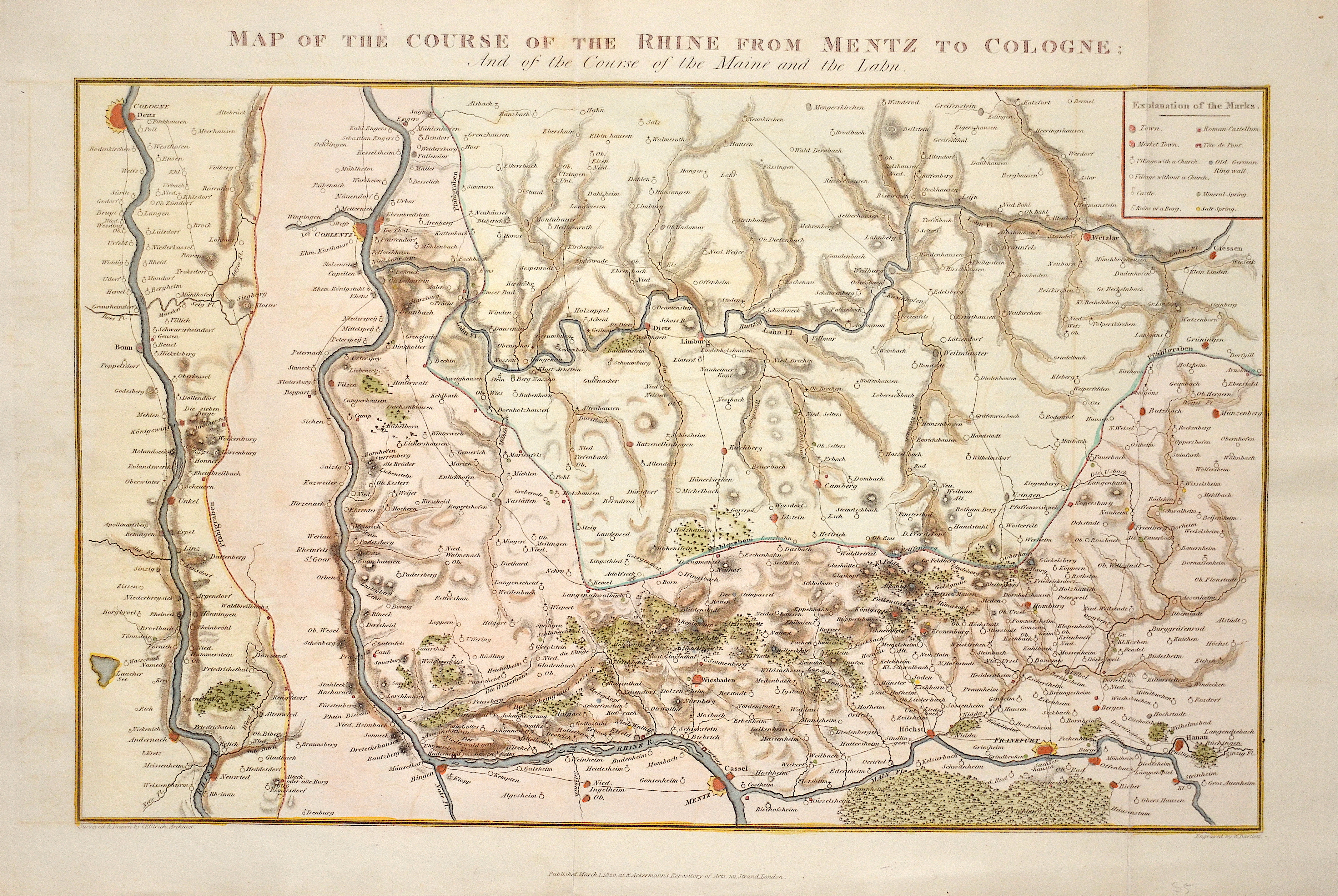 Bartlett Henry William Map of the course of the Rhine from Mentz to Cologne; And of the Course of the Maine and the Labn.