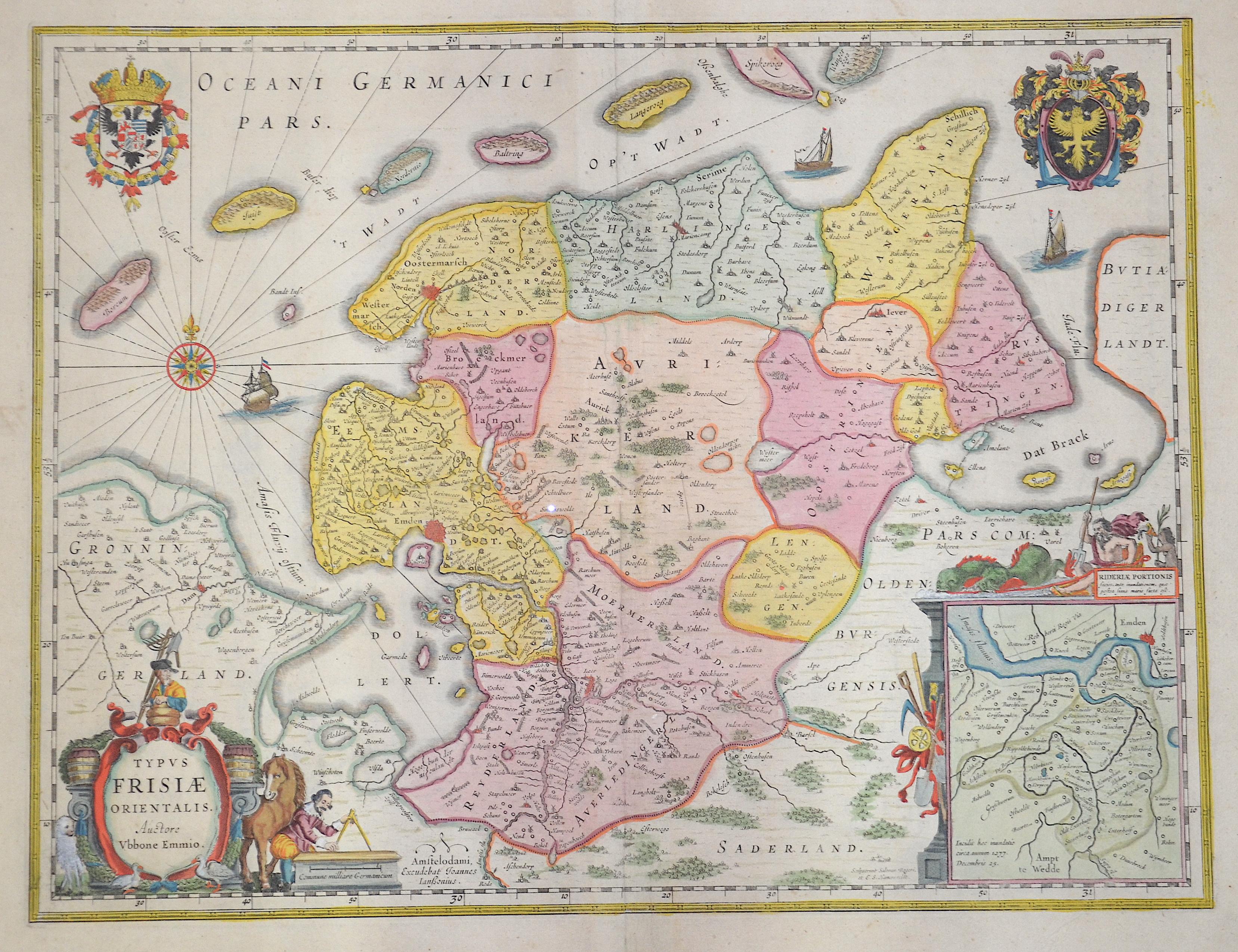 Janssonius Johann Typus Frisiae Orientalis. Auctore Ubbone Emmio.