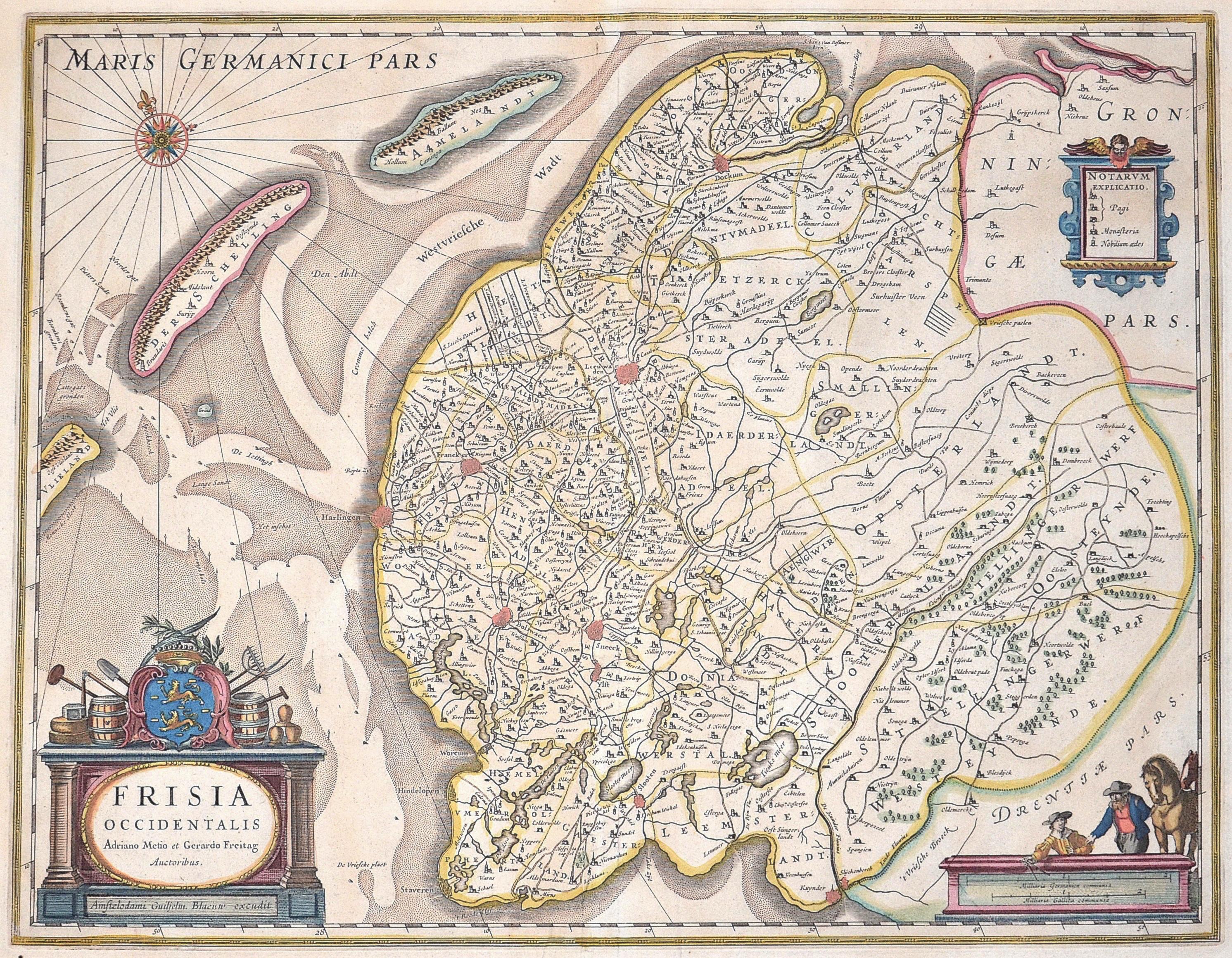 Blaeu Willem Janszoon Frisia Occidentalis Adriano Metio et Gerardo Freitag Auctoribus.