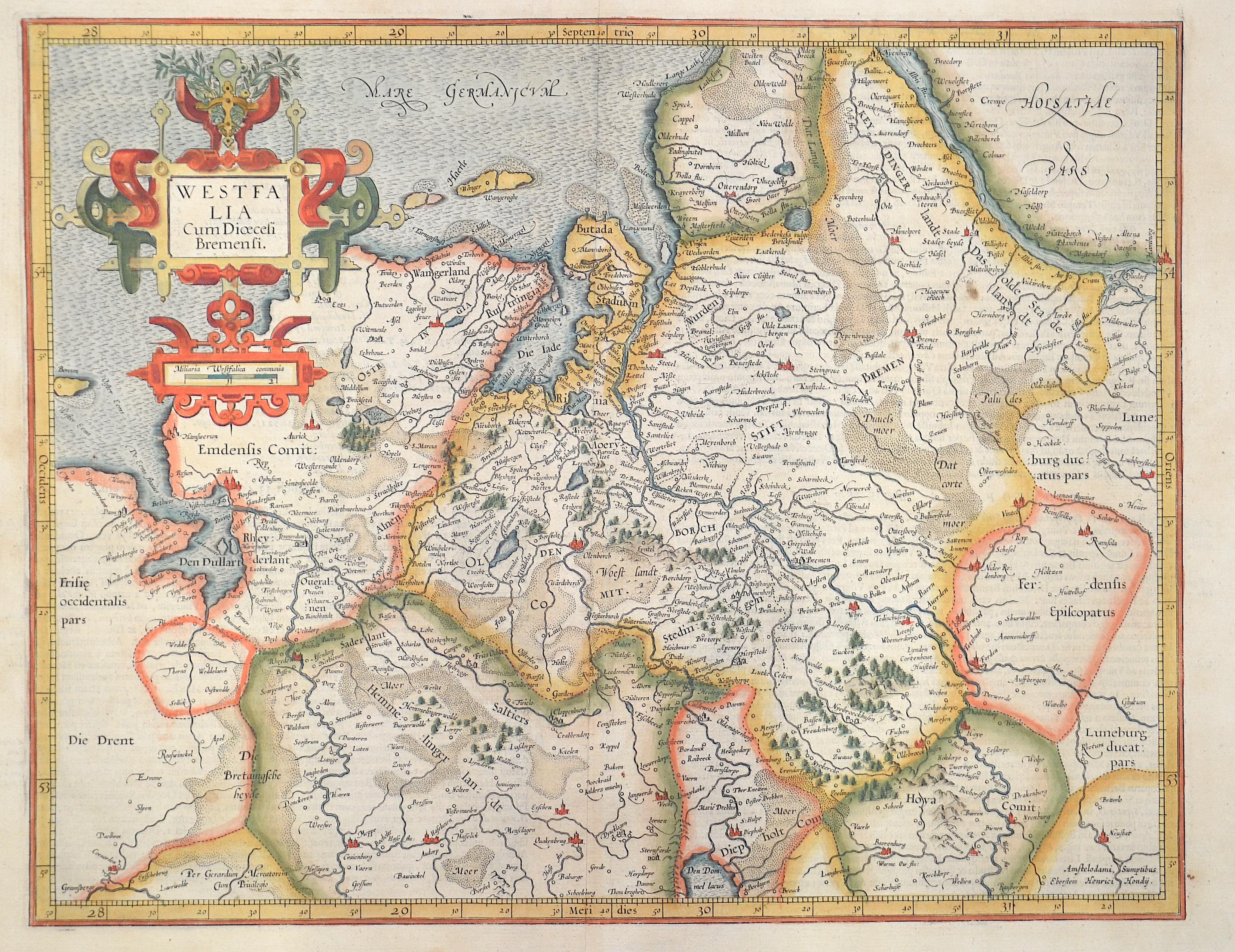 Hondius Hendrik Westfalia cum Dioecesi Bremensi.