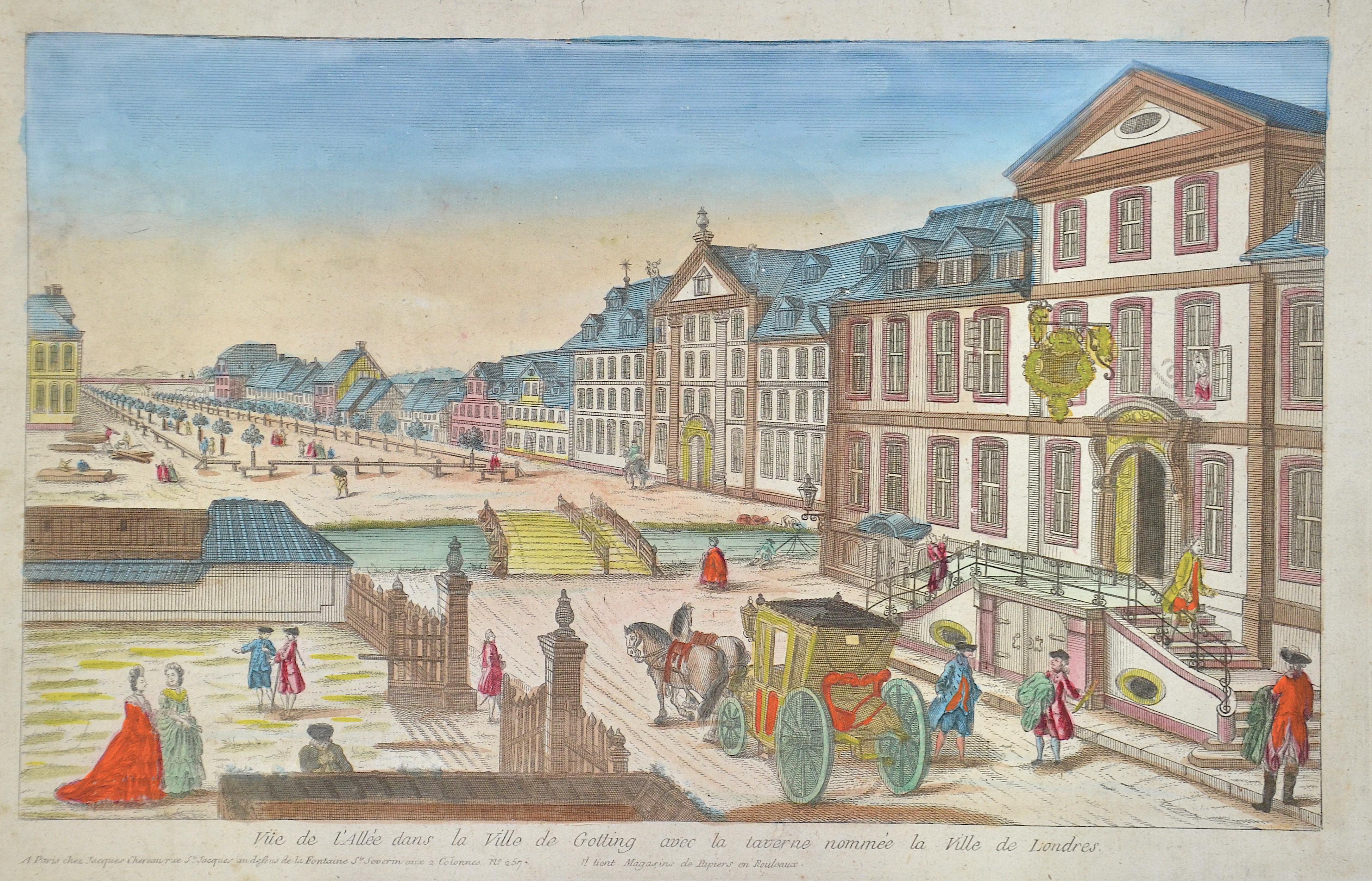 Chereau Jacques Vue de l'Allée dans la Ville de Gotting avec la taverne nommèe la Ville de Londres.