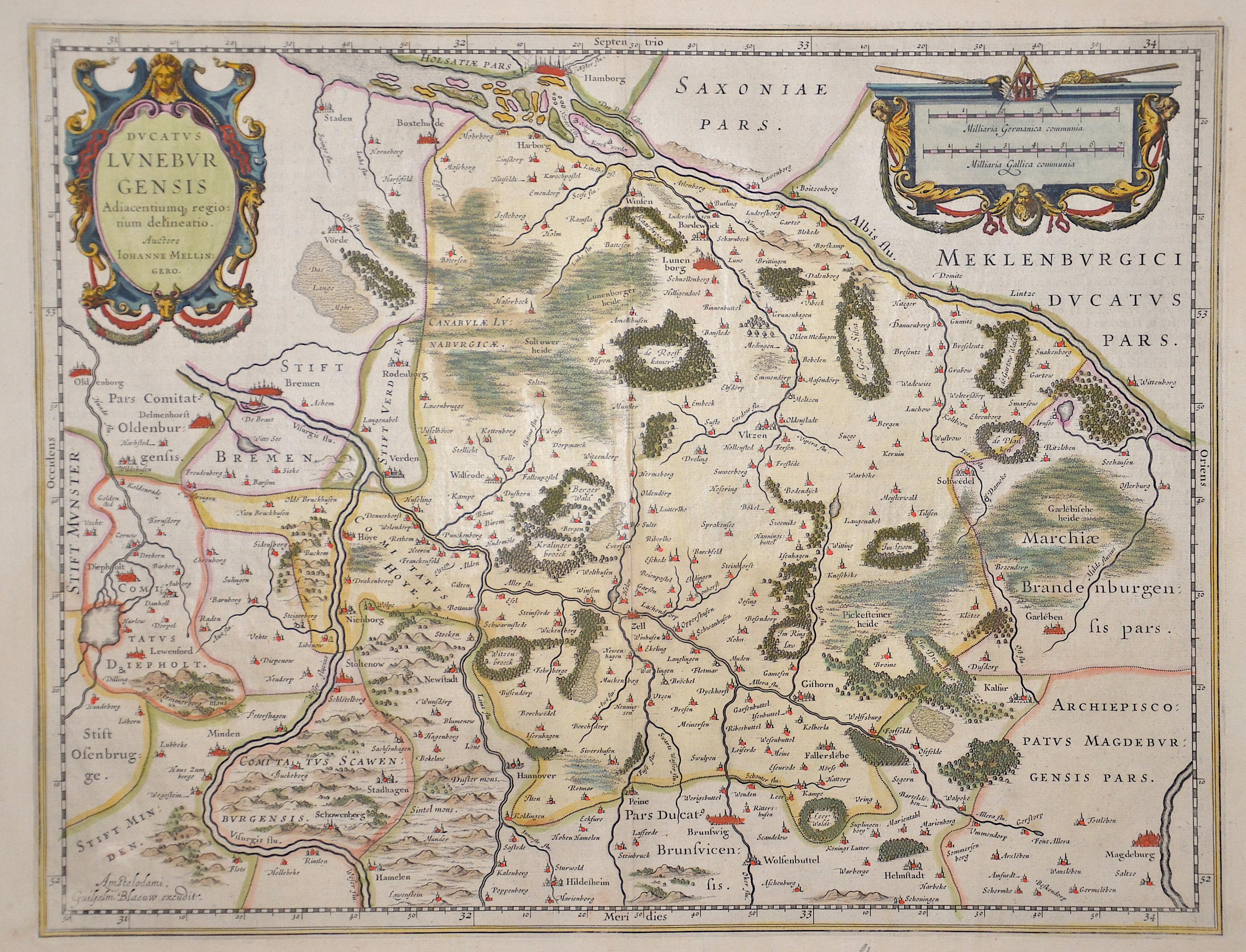 Blaeu Willem Janszoon Ducatus Luneburgensis Adiacentiumq regionum delineatio.