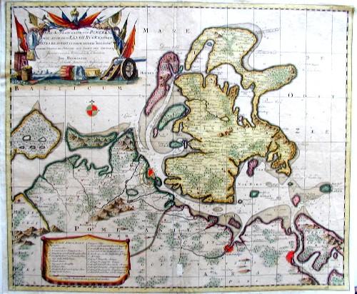 Schenk Peter Eine accurate Karte von Pomeren wie auch dem Land Rügen  neben Strahlsundt in Form seiner  Beläger