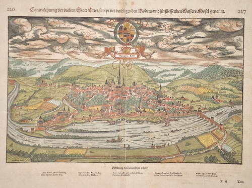 Münster Sebastian Contrasehtung der uralten statt Trier/sampt deß umligenden Bodens und fürflissenden Wassers Mosell genannt