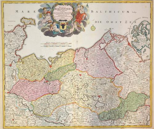 Homann Johann Babtiste Ducatus Meklenburgici tabula generalis continets duc. Vandaliae et Meklenburg….