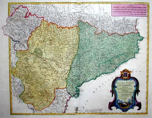 Vaugondy,de  Etats de la Couronne d´Aragon, ou se trouvent les Royaumes d´Aragon et de Navarre la Principaute de Catalogne