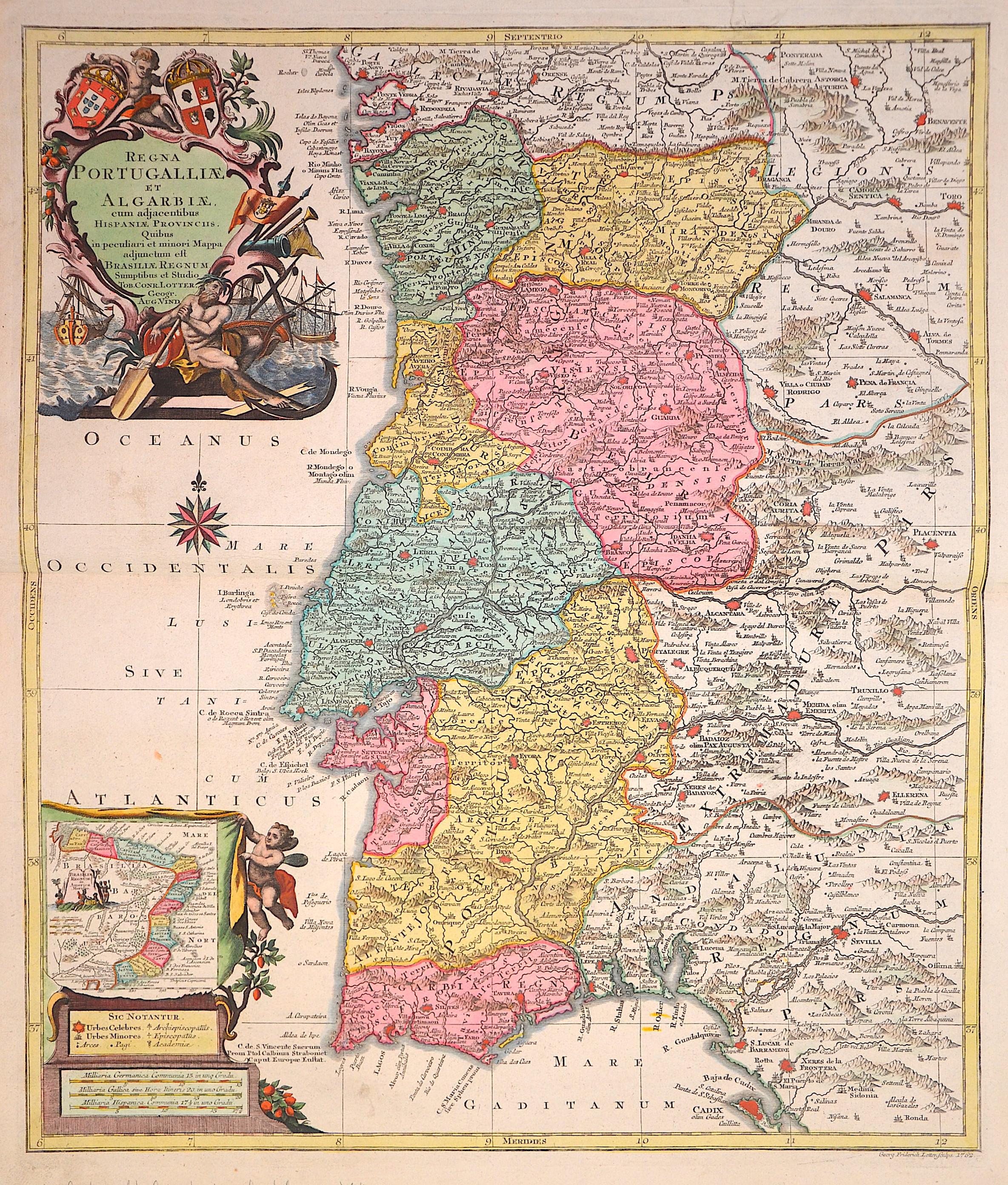 Lotter Tobias Conrad Regna Portugaliae et Algarbiae cum atiacentibus Hispaniae Provinciis…..Brasiliae regnum