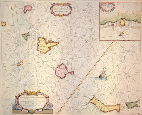 Keulen  Caarte voor ee gedeelte der Canarisee Eylanden als Canaria ,Tenerifa, Forteventura, ect./De tyhavens porto de Naos en Posto de Cavallos …Lazerota