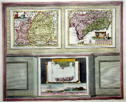 Aa, van der  Nouvelle carte du Castille nouvelle et Estremadure/ Nouvelle carte d´Andalusie et Grenade/ Le Dertoit de Gibraltar