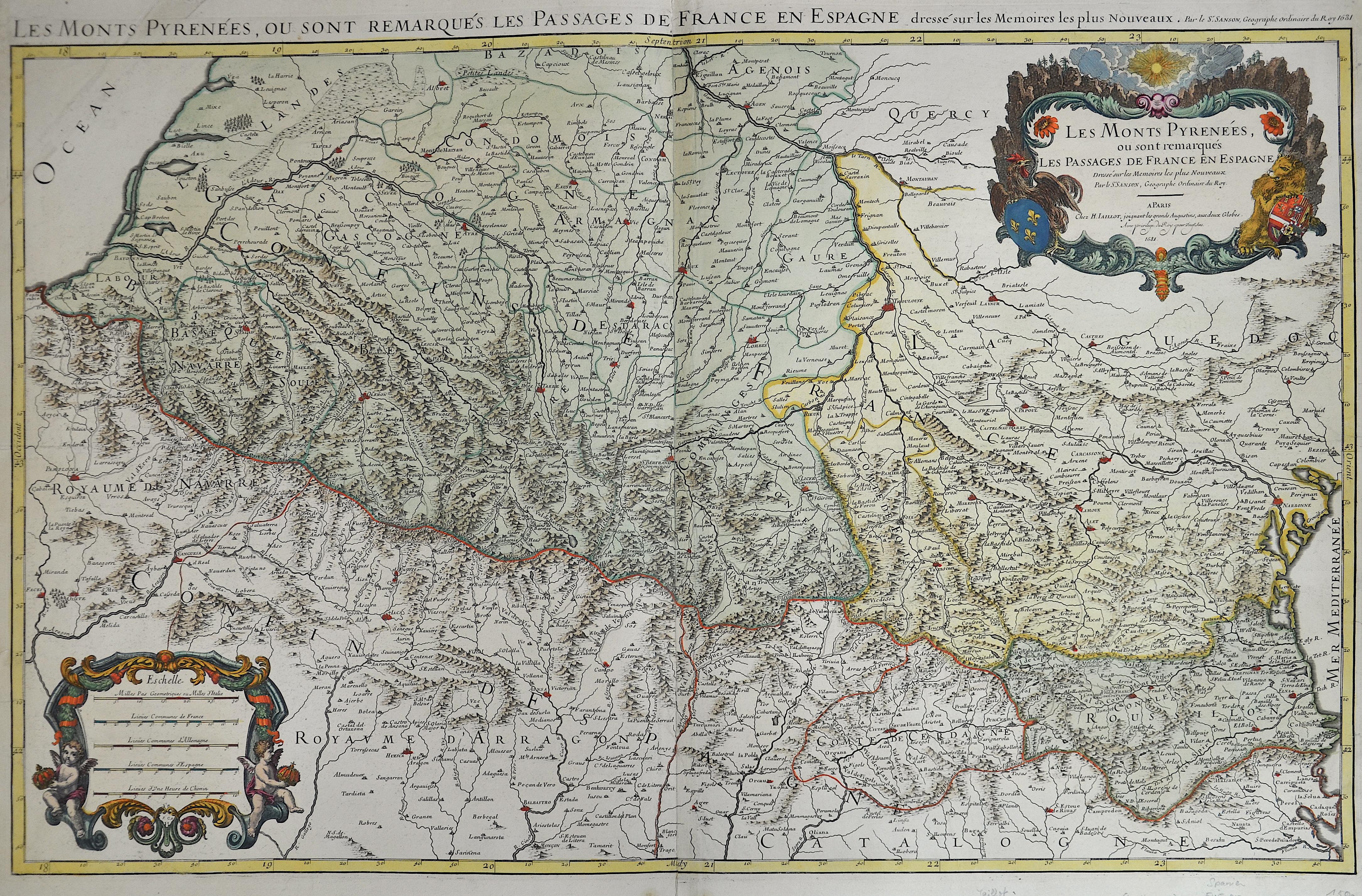 Jaillot Hubert Les Monts Pyrenées.  Ou sont remarques les Passages de France et Espagne