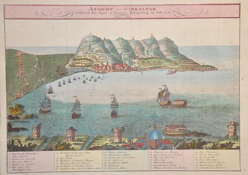 Anonymus  Ansicht von Gibraltar während der Span. U. Französ. Belagerung im Jahr 1782