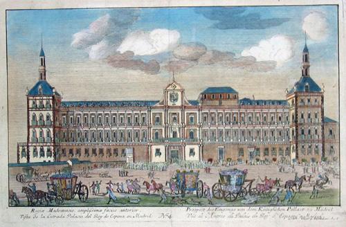 Hertel J.G. Regiae Madritensis,amplissimae facies anerior/Prospect des Eingangs von dem Königlichen Palast zu Madrid/Vista de la entrada Palazio del Rey….Madrid