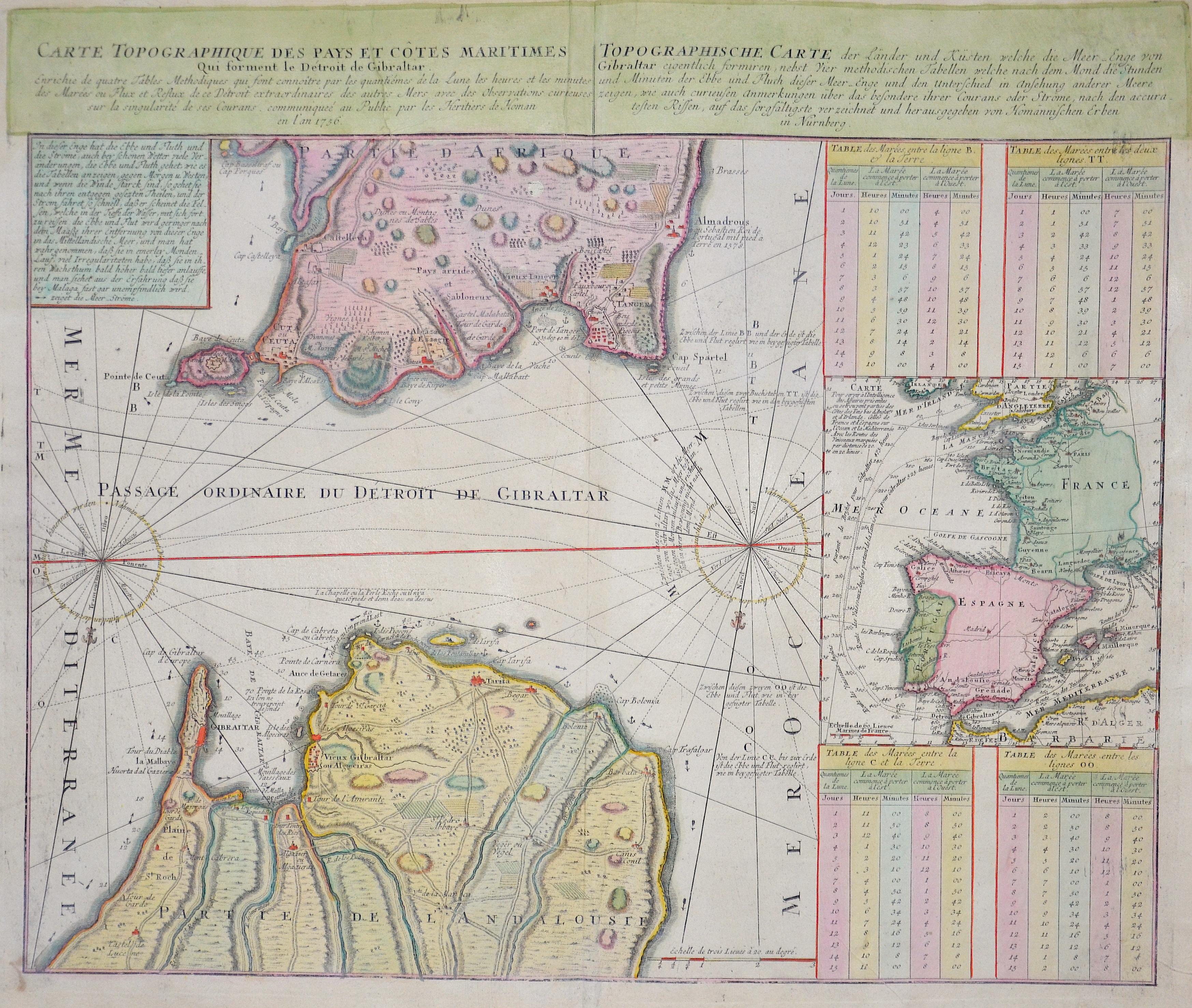 Homann Erben  Carte topographique des pays et cotes Maritimes/ Totpographische Carte der Länder und Küsten welche die Meer- Enge von Gibraltar…..