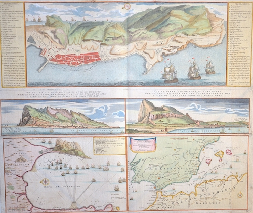 Covens/ Mortier  Nouveau Plan de Gibraltar, avec ces Fortifications & C..