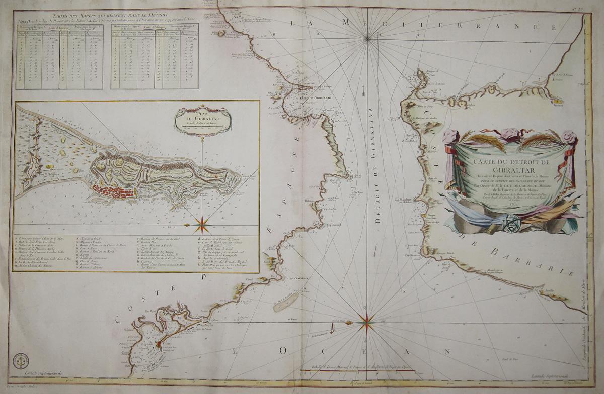 Bellin  Carte du Detroit de Gibraltar../ Plan de Gibraltar