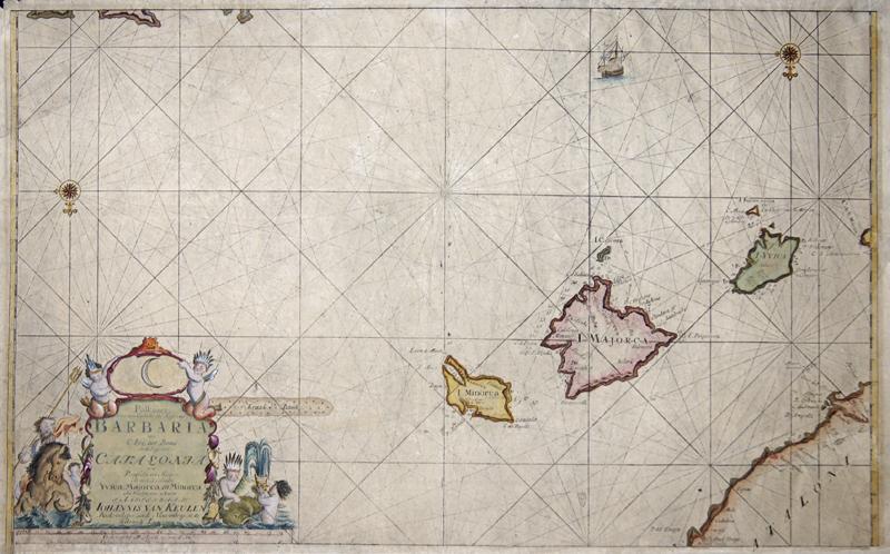 Keulen  Paskaart, voor een Gedeelte der Kust van, Barbaria, van C. Ivi, tot Bona. En de Kust van, Catalonia..Eylanden, Yvica, Majorca, en Minorca