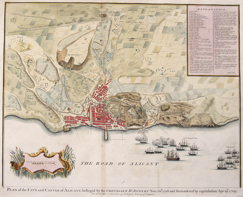 Rapin de Thoyras  Plan of the City and Castle of Alicant, besieged by the Chevalier d'Asfeldt Nov. 30th.1708 and furrendered by capitulation Apr. 19th. 1709.