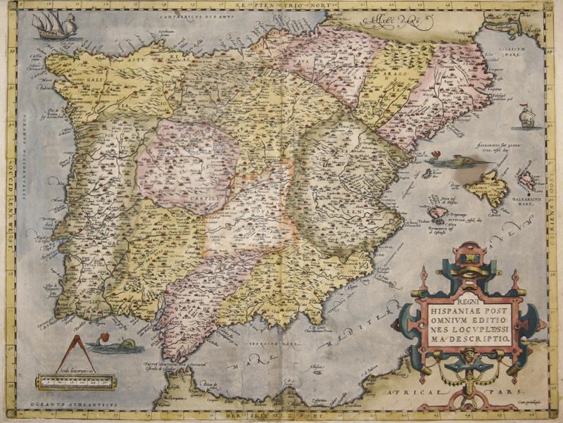 Ortelius  Regni Hispaniae post omnium editiones locuplessi ma descriptio.