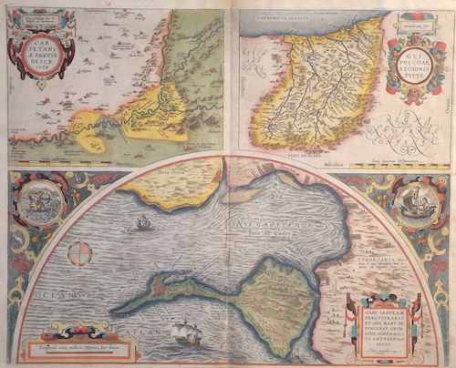 Ortelius  Carpetaniae partis descr. 1584. / Guipuscoae Regionis Typus. / Hanc insulam Perlustrabat, et sua manu de pingebat Georgius Hoefnaglius Antverpian.