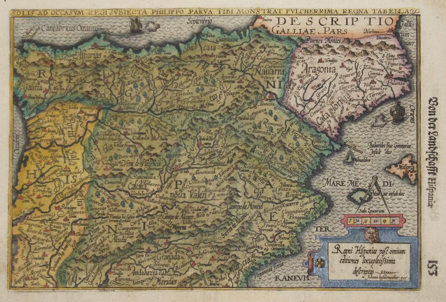 Bussemacher  Regni Hispaniae post omium editiones locupletissima descriptio. Solis ad Occasum Regi subiecta Philippo Parva tibi monstrat pulcherrima regna Tabella.