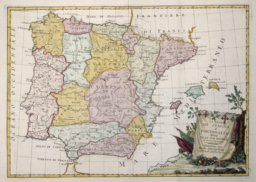 Zatta Antonio Li Regni die Spagna e Portogallo divisi nelle sue Provincie di nuova Projezione.