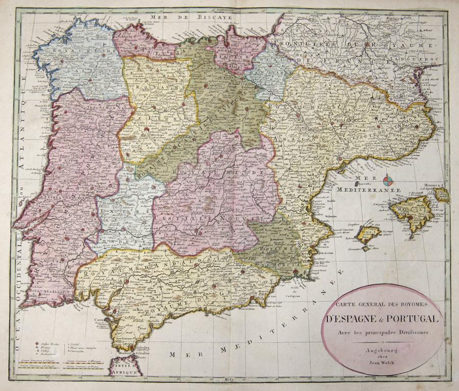 Walch Johann Carte General des Royomes d'Espagne & Portugal.  Avec les principales Divisiones.