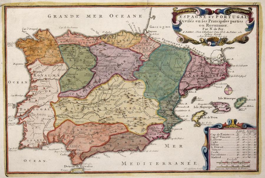 Fer, de  Espagne et Portugal Divises en ses Principales parties ou Royaumes.